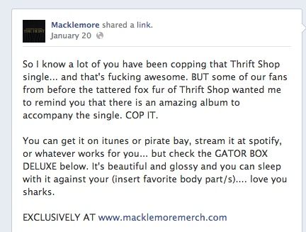 Post on Macklemore's Facebook page in January 2013