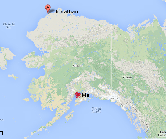 Jonathan is currently in the Village of Wainwright at the tippy top of Alaska. I'm still in Anchorage, packing everything up.